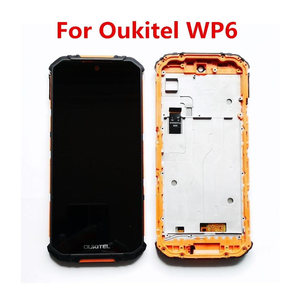 جديد الأصلي ل Oukitel WP6 هاتف محمول شاشة الكريستال السائل مع الإطار شاشة تعمل باللمس Digitzer الجمعية إصلاح لوحة زجاج أجزاء