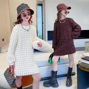 Evening Dresses for Girls Autumn Long Sleeve Fashion Teens School Dress Beige Brown Children Dresses 10 12 Years Kids Clothes