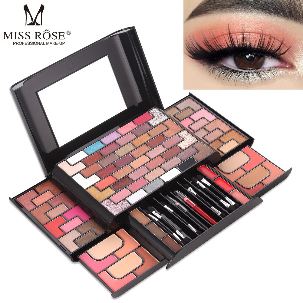 68 Color Eye Shadow 8 Color Blush 4 Color Pressed Powder 3 Color Eyebrow Powder Lip Cream Gold Brick Labyrinth Makeup Set