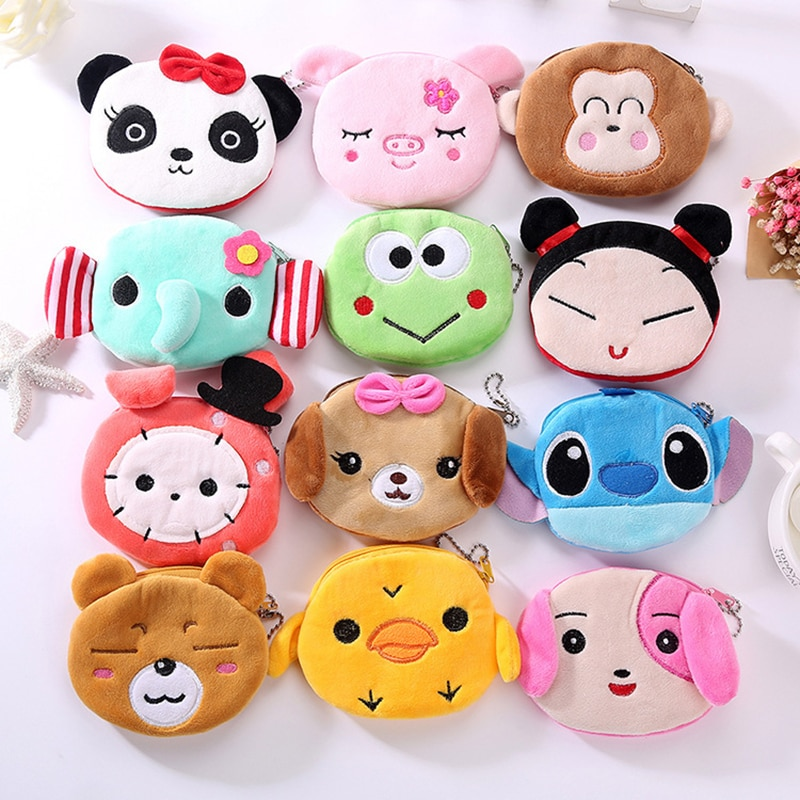 FUDEAM Soft Plush Panda Dog Rabbit Monkey Cartoon Women Coin Purse Mini Cute Zipper Girls Coin Walle