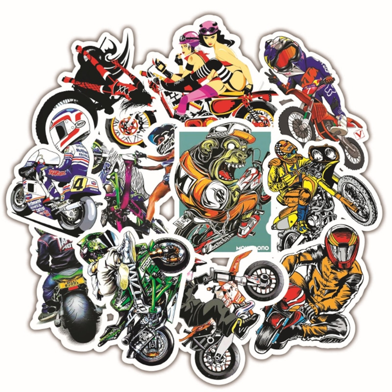 10/30/50 PCS Creative Personality Motorcycle Skateboard Luggage Trolley Guitar Computer Cartoon Sticker Toy Wholesale