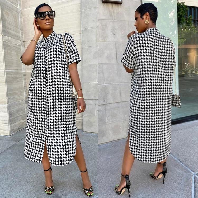 AliExpress - Cross-border trade independent stand hot style African women's summer new plover short-sleeved shirt dress