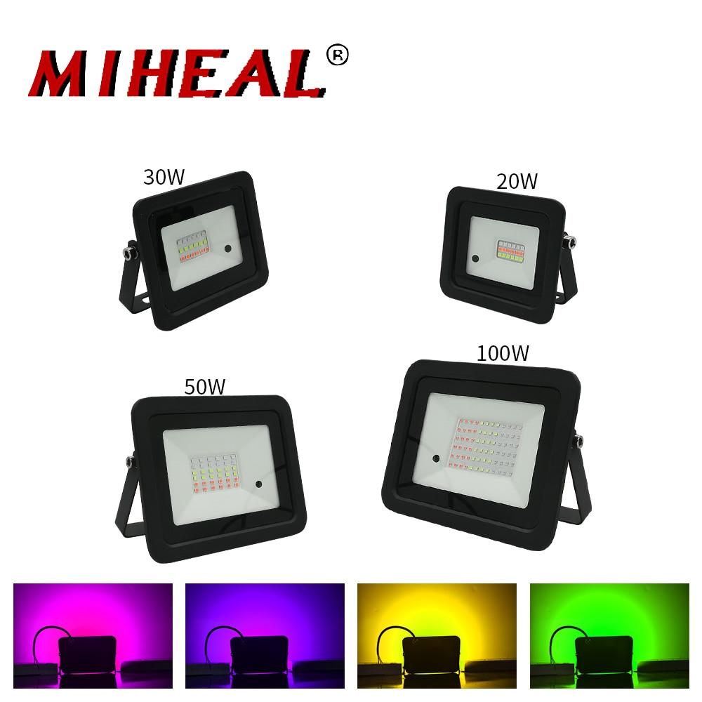 2020 Latest LED RGB Flood Light 20W 30W 50W 100W Outdoor RGB Floodlight Spotlight IP68 LED Wall Washer Light With Remote Control