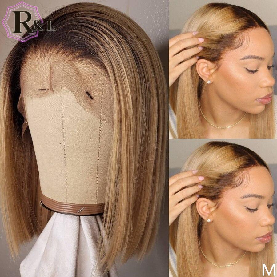 RULINDA color degradado 13*6 pelucas de cabello humano con frente de encaje resaltar Bob corto pelucas de cabello brasileño no Remy 150% de densidad