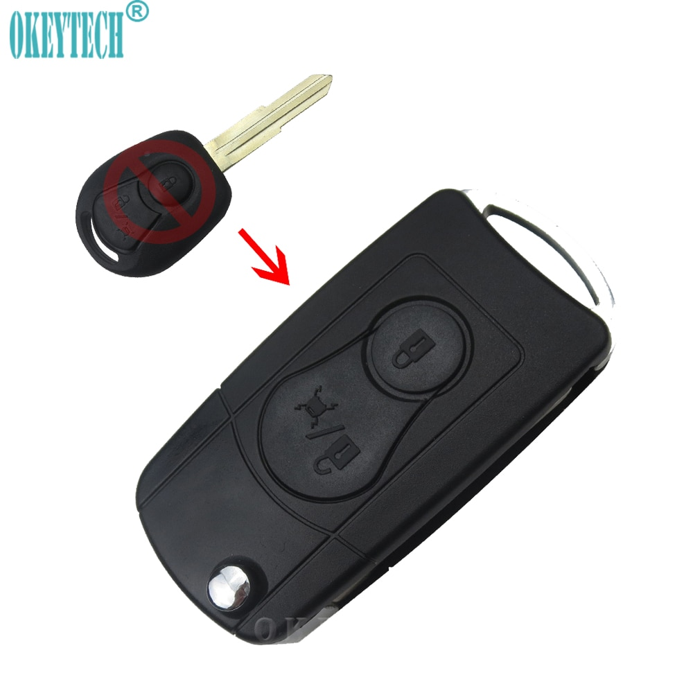 OkeyTech 2 botones funda para mando a distancia del coche para Ssangyong Actyon SUV Kyron plegable Auto coche caso clave hoja sin cortar de la llave del coche
