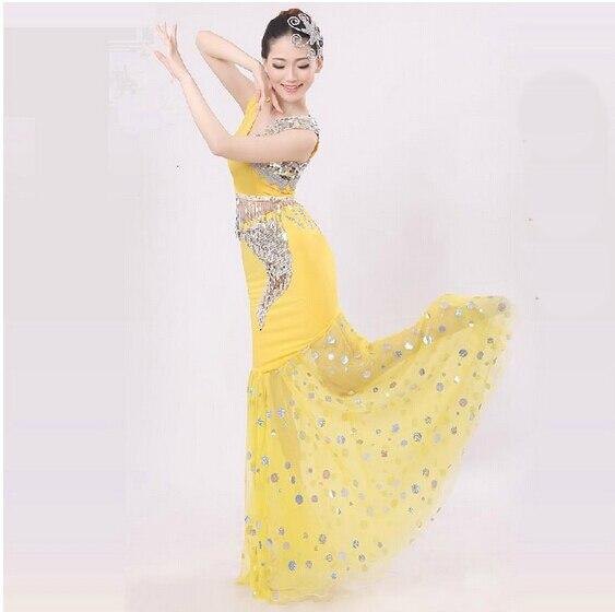 Nuevos trajes de baile Dai Pavo Real trajes de baile femenino falda de cola de pez Paquete de cadera sección larga de trajes nacionales 003
