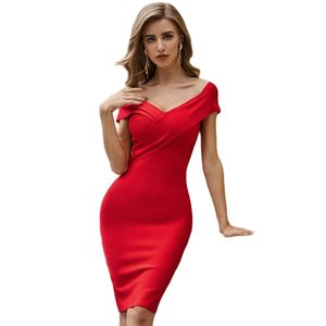 High Quality Red Bodycon Knee Length Rayon Bandage Dress Evening Party Dress