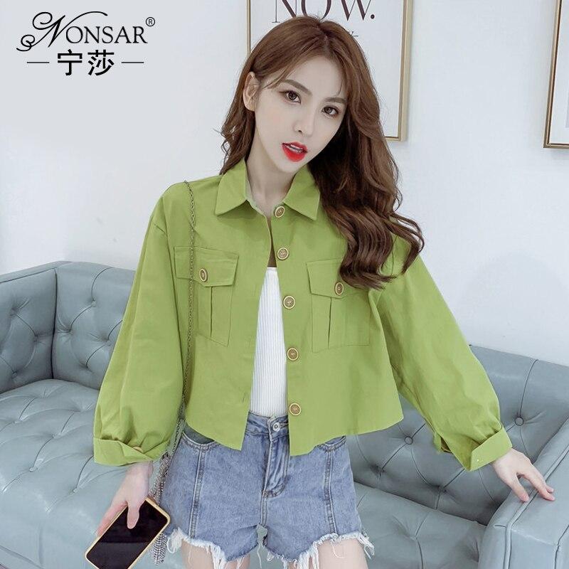 Ningsha 2020 Spring New Fresh Avocado Green Polo Collar Elegant Top Fashion Short Long Sleeve Coat f