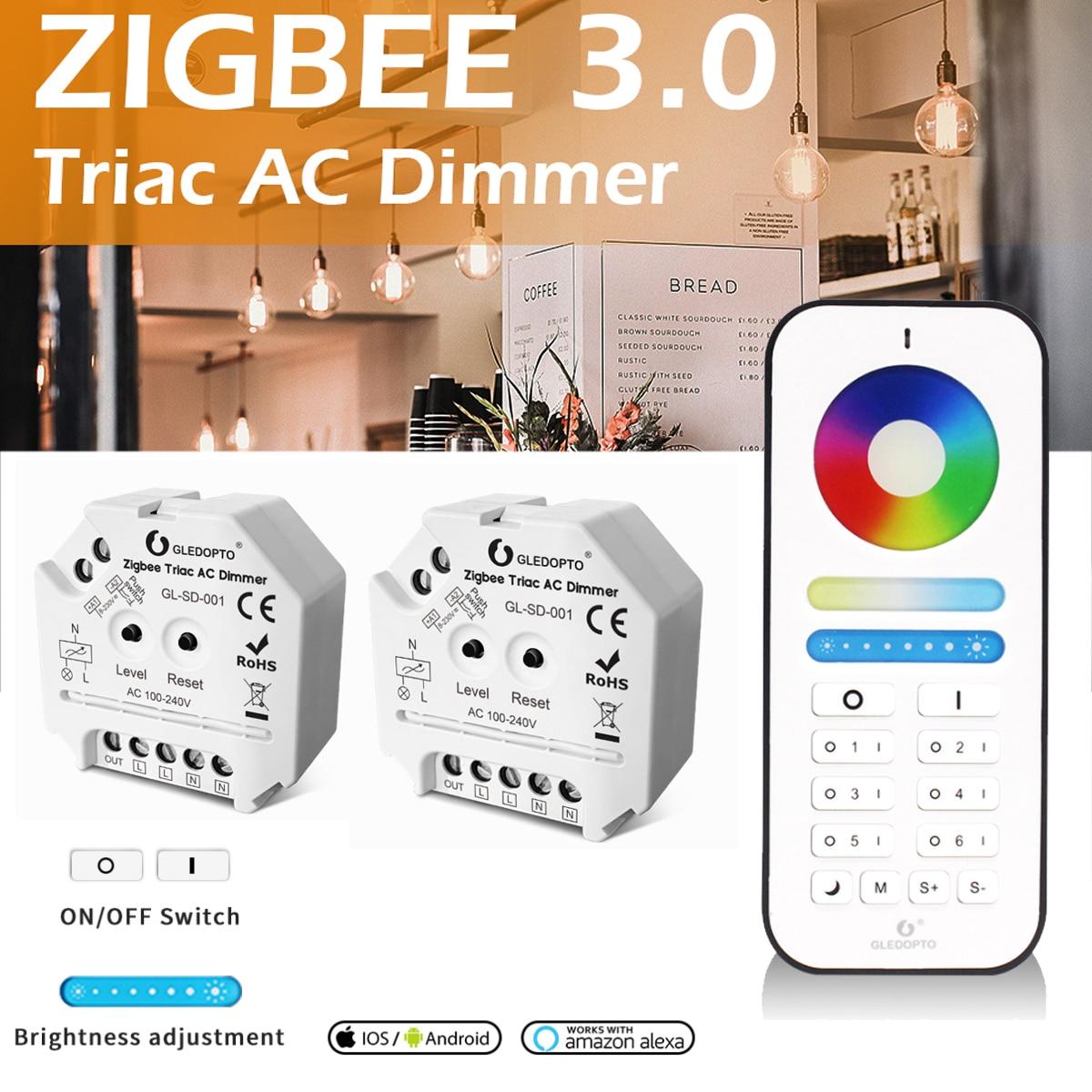 gledopto zigbee triac dimmer push switch 24g controle remoto casa inteligente lampada
