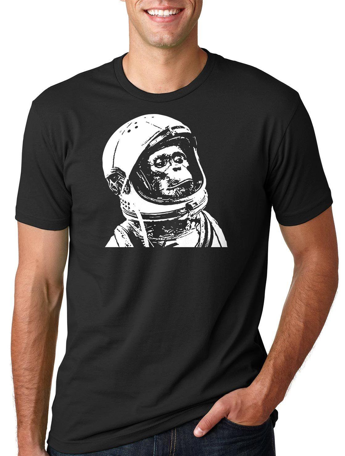 Geek gracioso astronauta chimpancé camiseta con gráfico de mono camisa espacio mono chimpancé camiseta de dibujos animados camiseta de los hombres Unisex nueva moda camiseta