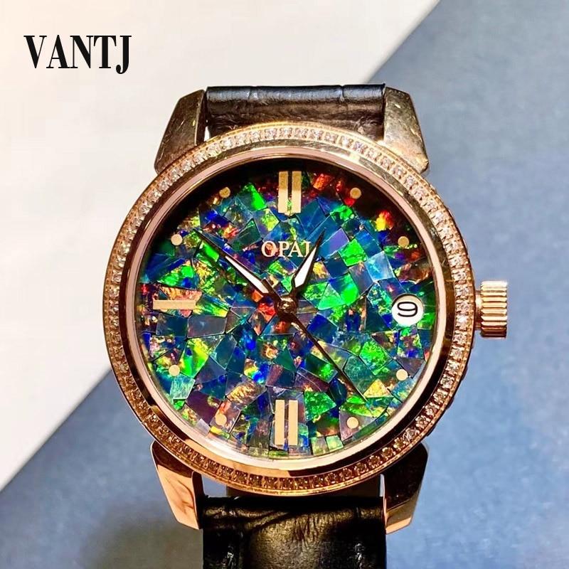 VANTJ موضة عقيق طبيعي ساعة الفولاذ المقاوم للصدأ الياقوت الرجال النساء ساعة حفلة هدية عيد ميلاد
