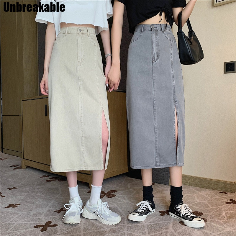 Apricot Long Denim Skirts Women High Waist Split Straight Skirt Vintage Button Summer Fashion Skirts Plus Size Pockets 2020