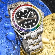 PLADEN Rainbow Diamond Men Watch Luxury Waterproof Luminous Men's Quartz Wristwatches Perfect Valent