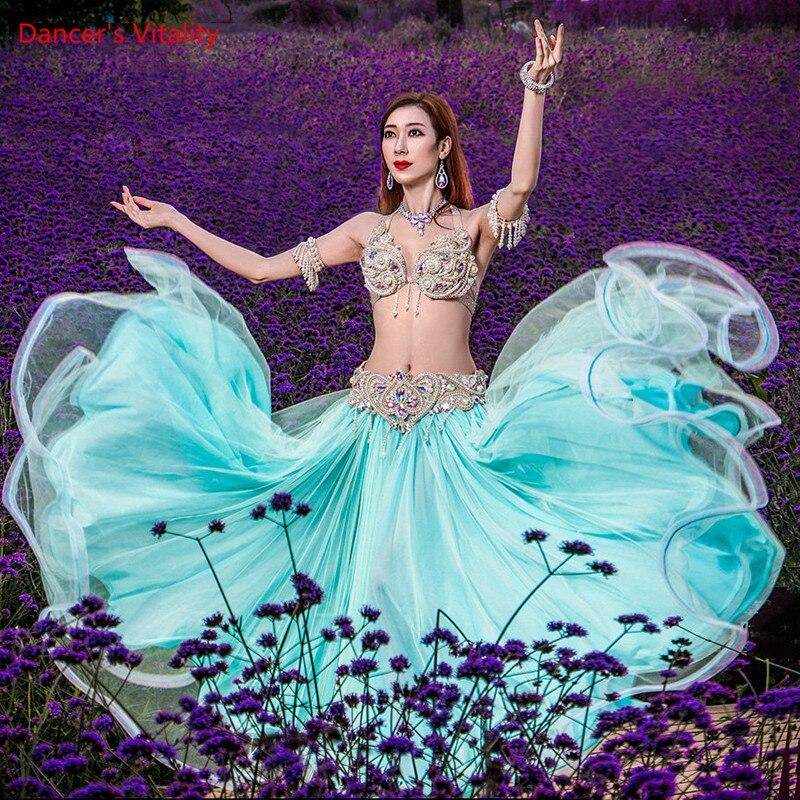 بدلة الرقص الشرقي لؤلؤة كاملة الماس الصدرية الشيفون الكبير سوينغ تنورة أداء مجموعة الراقية مخصص الكبار ملابس الطفل المنافسة