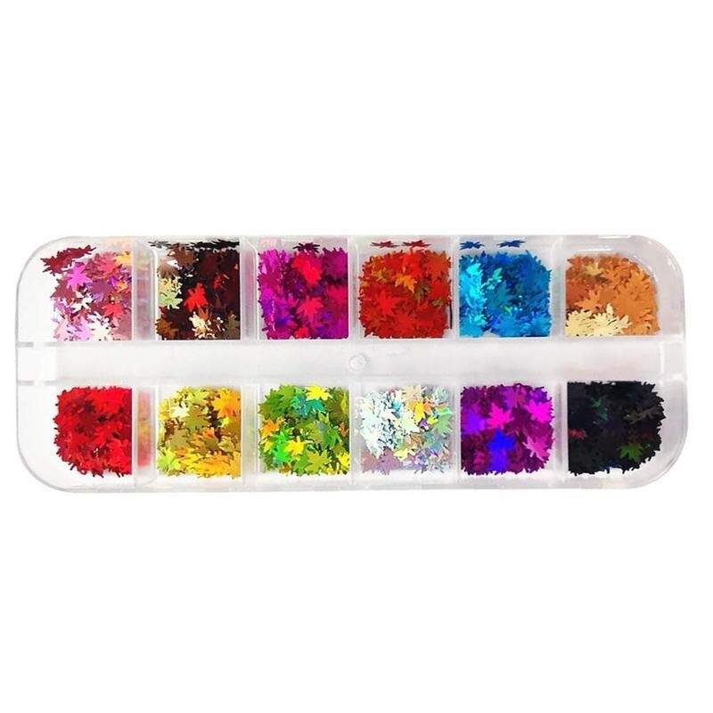 12 corlor outono folha de bordo arte do prego lantejoulas decoração holográfica camaleão glitter flocos uv gel polonês ferramenta venda quente