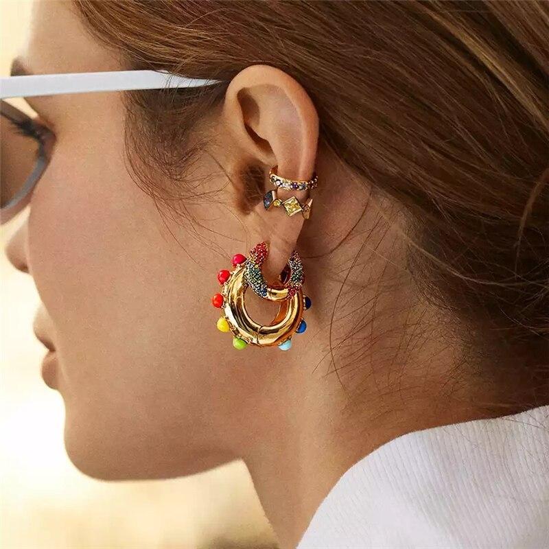 Cz brincos de arco-íris feminino zircônia cúbica orelha cuff conjunto para as mulheres moda clipe de argola de ouro em cristal jóias brincos de orelha manguito