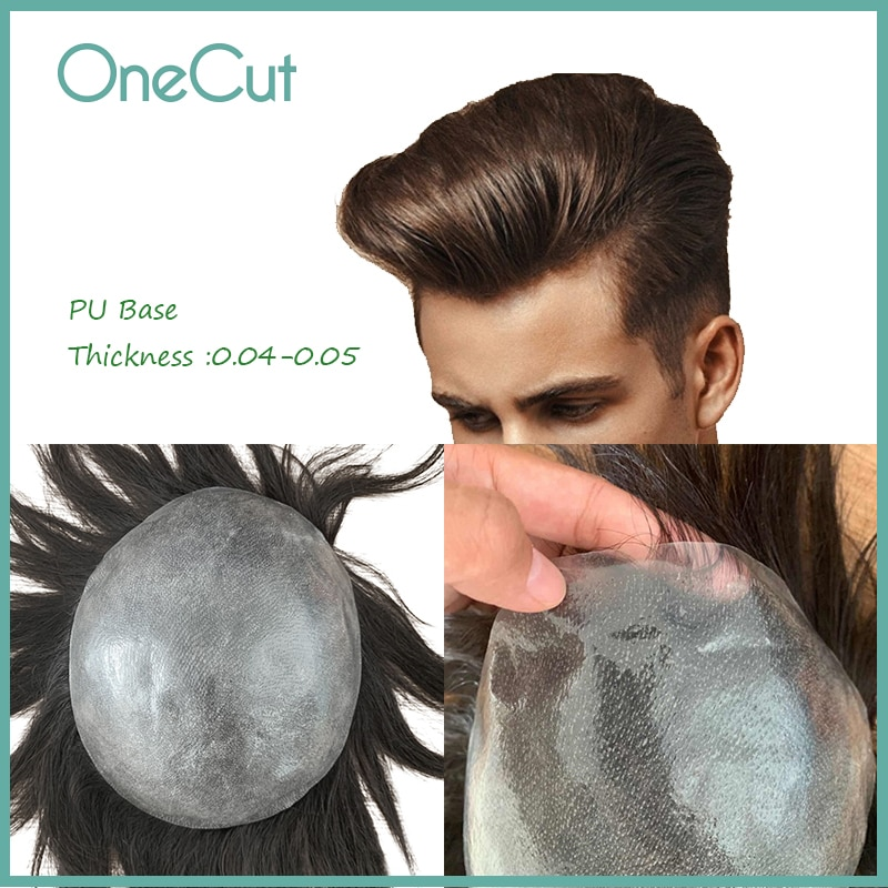 PU Base Men Toupee V-Loop Invisible Replacement System Unit Male Hairpieces Natural Color Men's Capillary Prothesis Homme Peruk