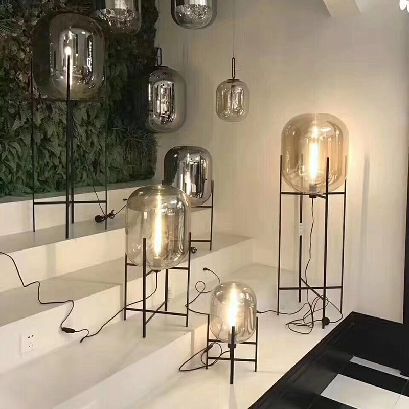 Lámpara de mesa moderna de cristal para sala de estar, trípode de...