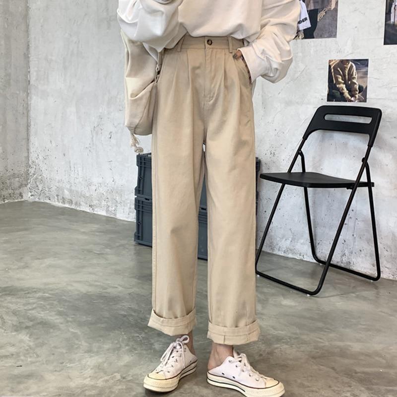 Autumn/winter Khaki Pants Women's Suit Wide-leg Pants 2021 New Small High Waist Loose Straight Cargo