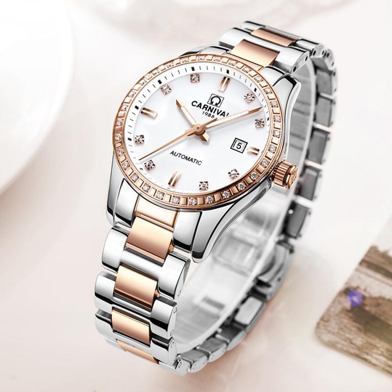 CARNIVAL New Casual Ladies Calendar Luminous Waterproof Stainless Steel Strap Diamond Dial Automatic Mechanical Watches Women