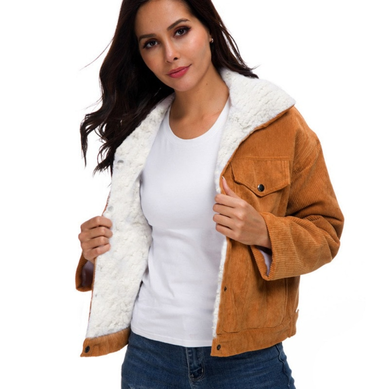Abrigo elegante para mujer chaqueta de pana de abrigo de invierno de Color sólido de manga larga Casual de una sola capa de pecho