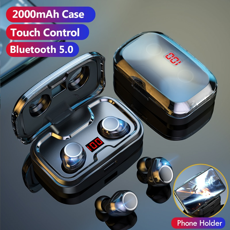 Auriculares inalámbricos Bluetooth con micrófono, Control táctil, auriculares inalámbricos impermeables, cancelación de ruido, auriculares para juegos