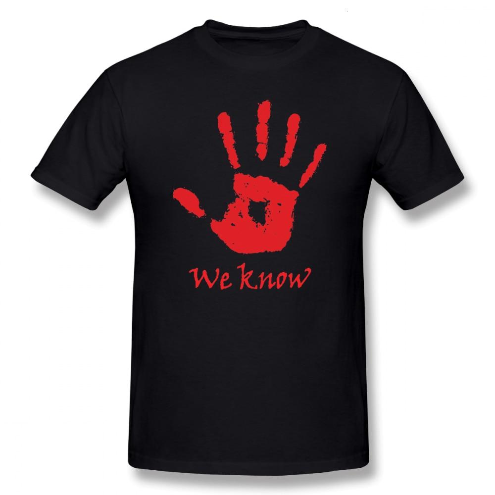 One yona Elder Scrolls camiseta We Know Dark Brotherhood Camiseta de algodón gráfico Camiseta de manga corta Casual masculino camiseta bonita