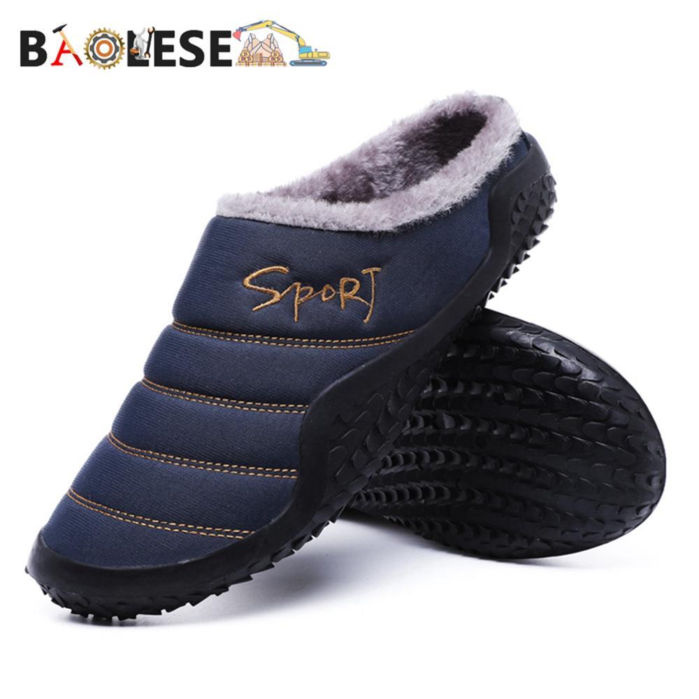 Baonesem – pantoufles de maison en coton pour hommes, chaussures d'hiver souples, antidérapantes, chaudes, de haute qualité
