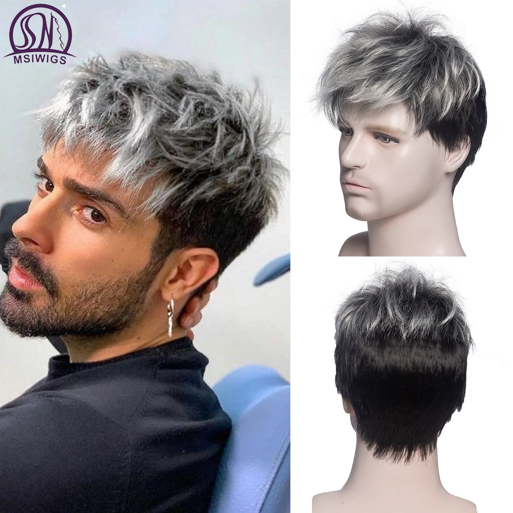 MSIWIGS Men Short Straight Wig Ombre Grey Brown Synthetic Wig White for Male Hair Fleeciness Realistic Natural Headgear