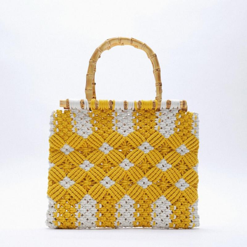 Fashion Rope Woven Tote Bags for Women Handbags Bamboo Handle Hand Bags Floral String Knitting Straw Bag Bali Clutch Purse 2021