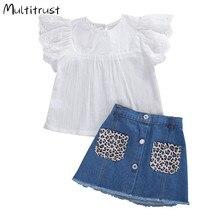 2 pièces mignon infantile enfants filles tenue été à la mode solide mouche manches dentelle haut + imprimé léopard poche Denim jupe ensemble 3-7Y