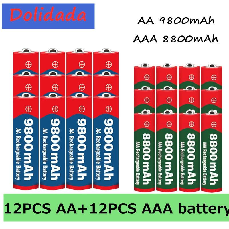 2020 nova aa + aaa bateria 1.5v aa 9800 mah + 1.5v aaa 8800 mah alkaline1.5v bateria recarregável para brinquedos relógio bateria da câmera
