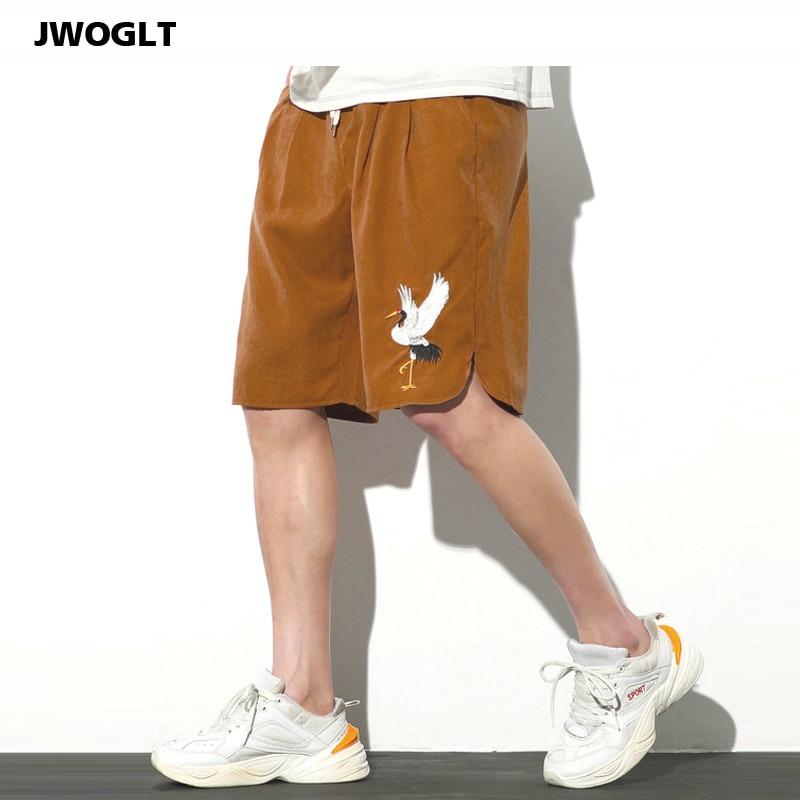 Summer Korean Fashion Soft Comfort Casual Cotton Shorts Men Drawstring Waist Crane Embroidery Japanese Harajuku Mens Short