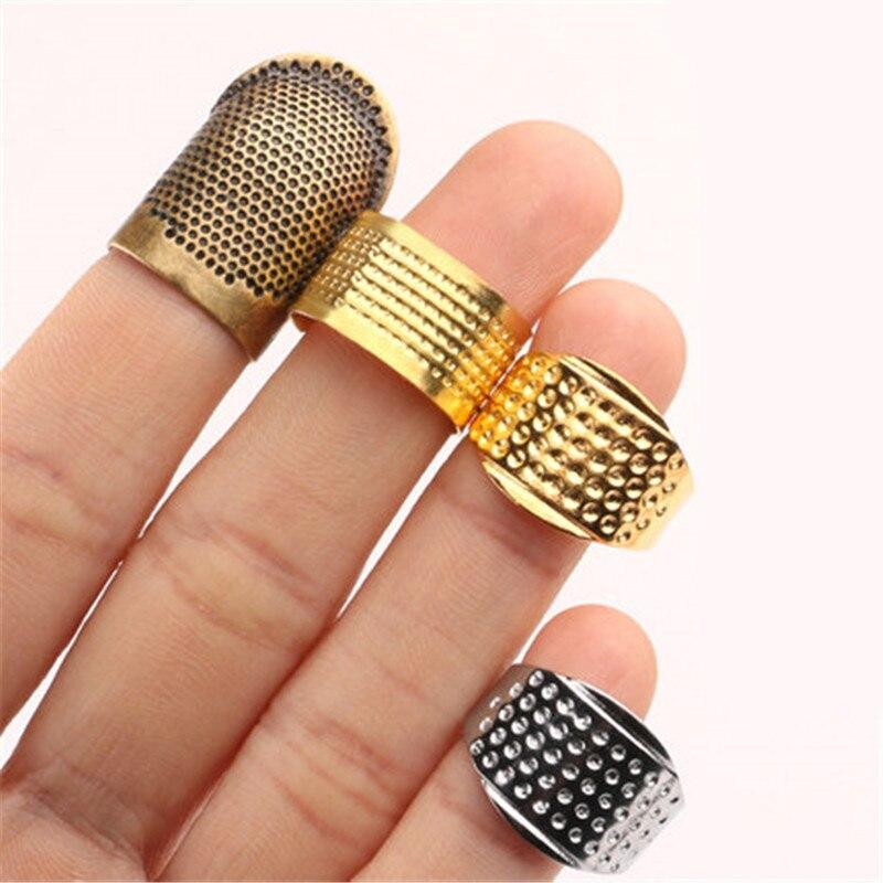 Vintage Metal dedal para coser dedo Protector antiguo anillo dedal artesanía a mano hogar costura DIY herramientas accesorios de costura