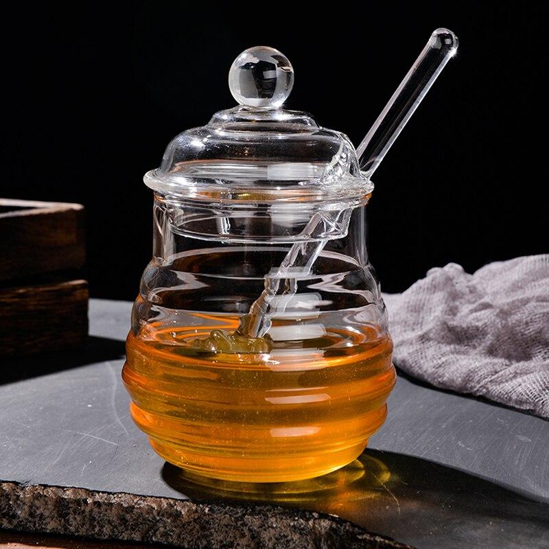 250 мл Стекло Мёд банки высокие боросиликат Стекло Мёд горшок с ложка-Черпак маленький Кухня хранения Jar контейнер для Мёд сироп