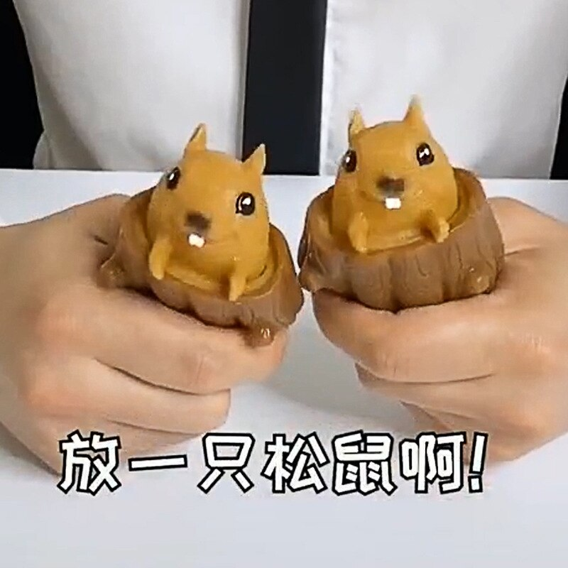 Cute Animal Squirrel Squeeze Squirrel Vent Squirrel Cup Decompression Toy Stump Rubber Stake Fidget Toys Gift For Friends enlarge