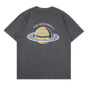 LACIBLE Men Hip Hop Harajuku Washed T Shirt Streetwear Letter Earth Printed T-Shirt 2021 Summer Short Sleeve Tees Cotton Loose