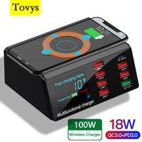 Зарядное устройство Tovys с 8 USB-портами и цифровым дисплеем, 100 Вт