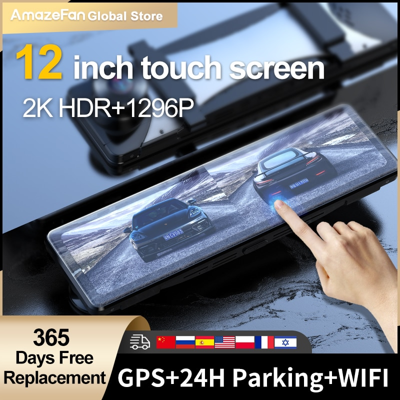 Видеорегистратор 12 дюймов Автомобильный с сенсорным экраном зеркало заднего вида 2K Передняя и 1296P задняя двойная линза GPS регистраторы на а...