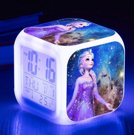 Reloj despertador de Color LED cambiante de Color de la princesa Elsa Anna congelada de la película de Mickey
