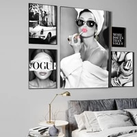Mode affiche mur Art imprimer noir et blanc toile peinture Vogue femme decor a la maison photos pour salon mode Vintage