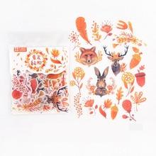 Pegatinas decorativas de animales, álbum diario de papel, decoración de cuenta de mano, zorro, bosque, Otoño, 40 unids/bolsa