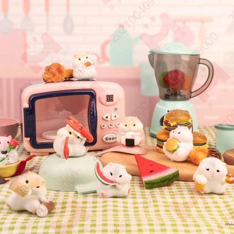 Blind Box Original Hamster Foodie Series Toys Figures 9Style Random Surprise Anime Model Guess PVC Figurine Doll 8Pcs/Set