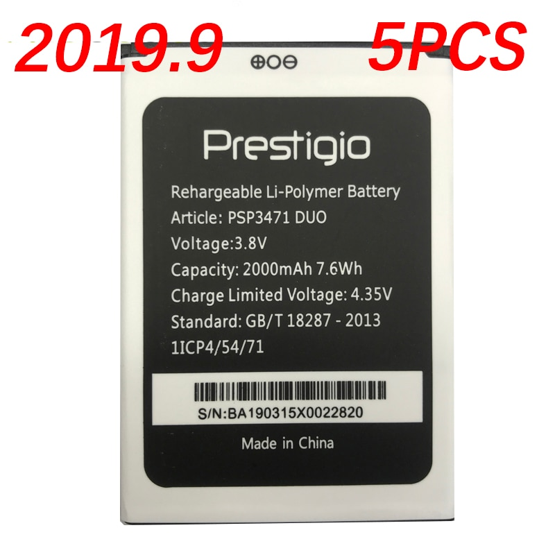 100% original 2000 mah 5 pçs bateria para prestigio wize q3 psp3471 duo telefone móvel em estoque substituição + número de rastreamento