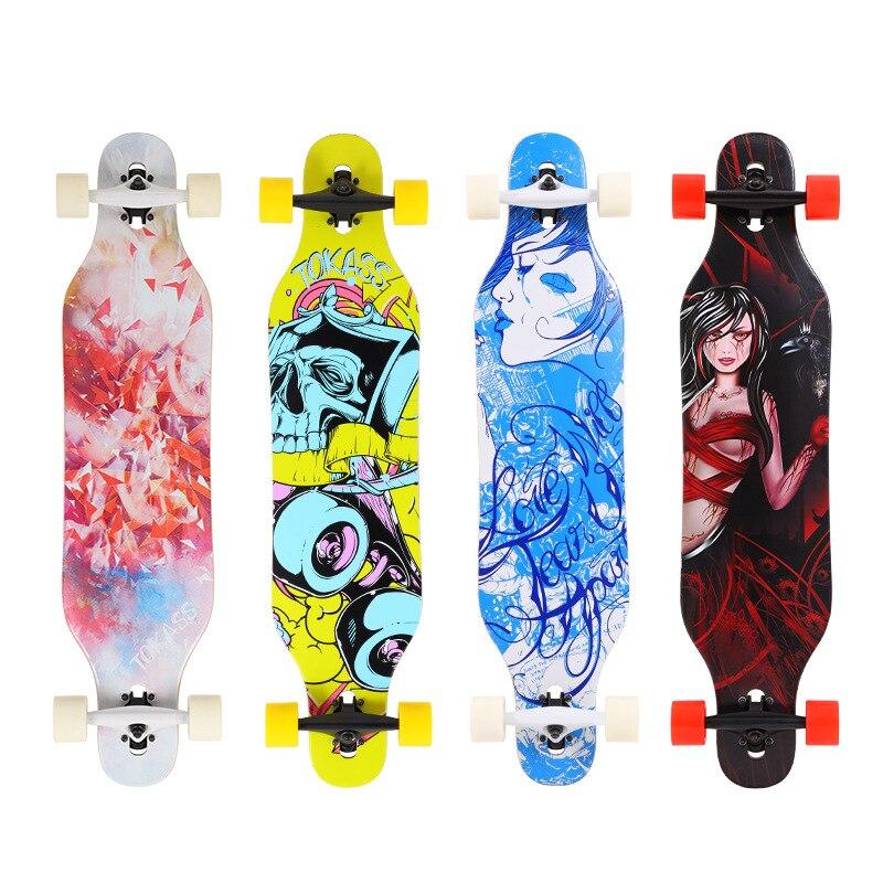 Street Maple Skateboard 4 Wheel Teenagers Children Skateboard Long Board Street Brushing Rullebrett Entertainment BY50HB