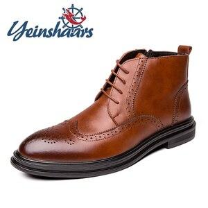 New Men Shoes Dress Boots Vintage Pointed Toe Luxury Boots Designers Evening Dresses Evening Brogue Boot Zapatos de Hombre Cuero