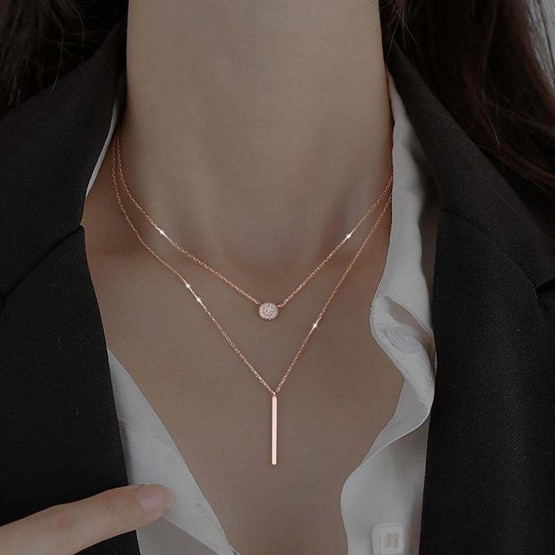 925 sterling silver Square Flash Diamond Round Double Necklace Women Clavicle Chain Fine Jewelry Par
