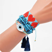 Go2boho Turkish Evil Eye Bracelet Boho Chic Jewelry Pulsera Mujer 2019 Delica MIYUKI Bracelet Crystal For Women Tassel Handwoven