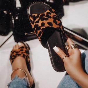 Summer Slippers Women Slides Leopard Indoor Outdoor Platform Sandals Shoes Ladies Slip On Flip Flops Zapatillas Mujer