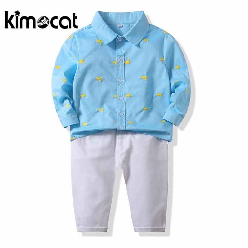Kimocat الطفل الصبي الملابس طويلة الأكمام الربيع الخريف الأزرق قميص مع مع السراويل عارضة حديثي الولادة الفتيان الملابس مجموعة جديد أزياء 2 قطعة